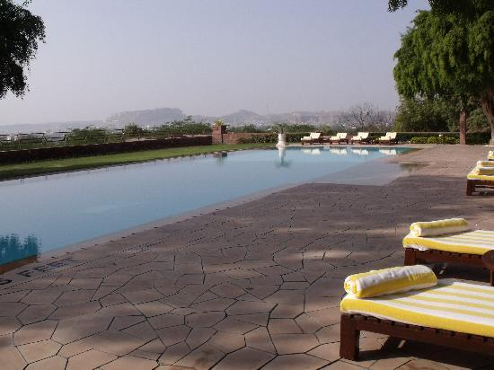 Umaid Bhawan Palace Jodhpur: Outdoor pool with fort & city in the background