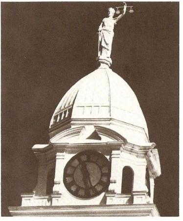 """Charlotte, MI: 1885 Eaton County Courthouse """"Lady Justice"""" Used from 1885-1976"""