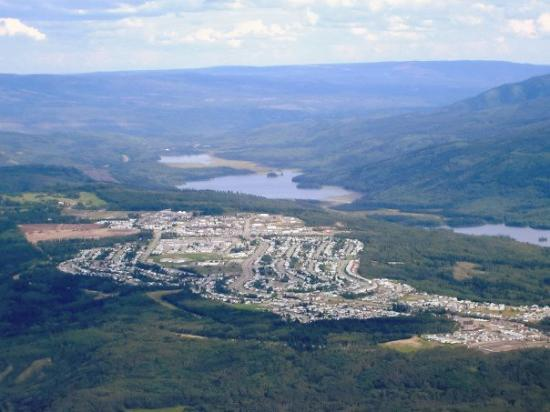 view of the town of Grande Cache, Alberta from the top of Mt. Stern