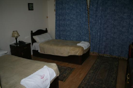 Sohag, Egypt: View of our room - almost new - but those rugs havent seen a vaccuum cleaner in ages