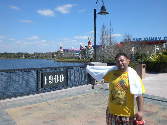 Disney's Pop Century Resort: Crossing the bridge...not fully opened yet....