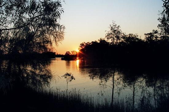 Mildura, Australien: Zonsondergang aan de Murray River.