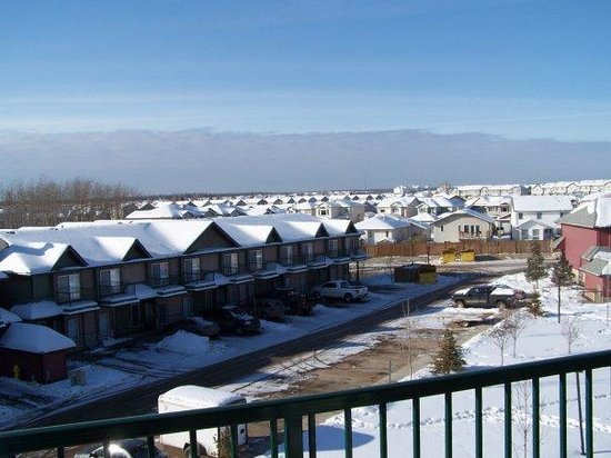 A view from my deck looking at Fort McMurray suburbia.