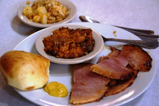 """WireGrass Restaurant and Bar: Saturday """"hot lunch"""" special -- baked ham, yeast roll, pineapple-cheese casserole, pecan-topped"""