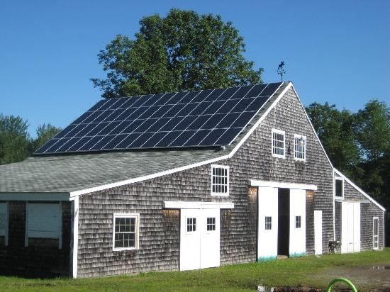 Medomak Camp and Retreat Center: The activities barn with the recently installed solar panels