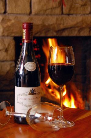 The Black Swan: A Good Bottle of Red by our Fire!