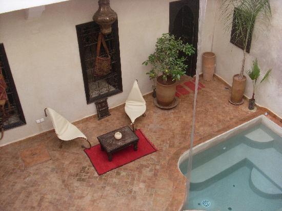 Riad Sharmance: le patio vu de notre chambre
