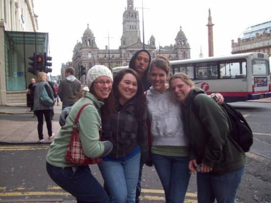 George Square: Kalena, Troy, Sarah, Stephanie and I at Town Center Square in Glasgow Scotland.