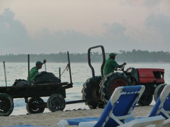VIK Hotel Arena Blanca : nettoyeurs de plage en petit tracteur