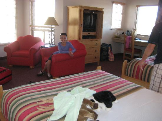 Inn at Eagle Mountain: our spacious room.. fireplace is to the left in front on chairs