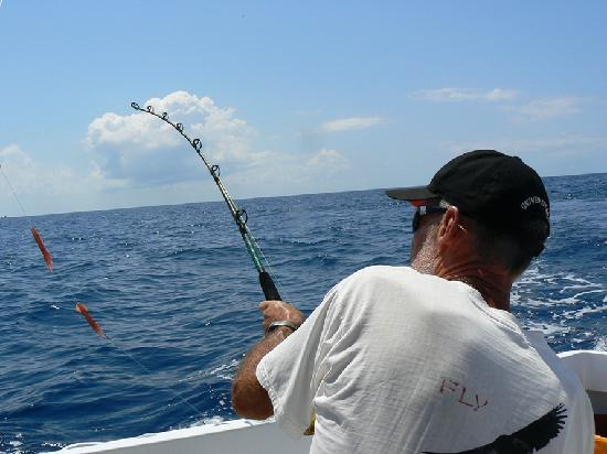 Costa Rica Sport Fishing on the Predator: Rudy fighting the fish.