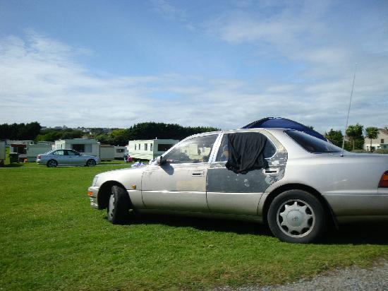 Fitzmaurice's Caravan & Camping Park: Car at Fitzmaurices Caravan Park