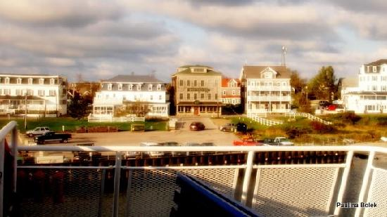 Harborside Inn, New Shoreham House, Water Street Inn, Old Bakery (left to right). View from the