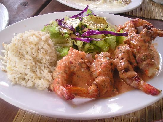 Zina's Guest House: bacon wrapped fresh shrimp in a red pepper sauce