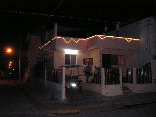 Zina's Guest House at night