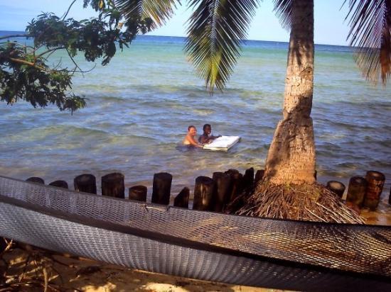 Kadavu, Fiyi: 'Fiji style' boogie board - yes it is a fridge door!