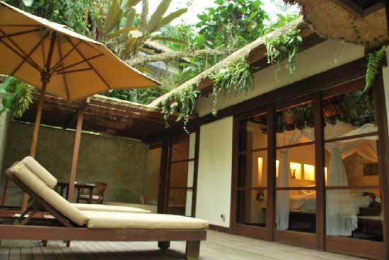Hanging Gardens of Bali: room's patio - and the connecting door to bathroom