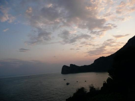 Marina del Cantone, Italy: View from our balcony at the Taverna del capitano. 2 * Michelin restaurant, family run and this