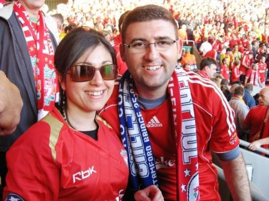 Anfield Stadium: Adrian and Susan at Anfield.