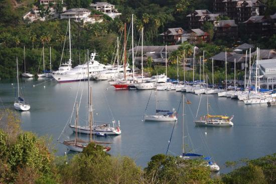 The Marigot Bay Marina, viewed from the balcony of our cottage, Oasis Marigot #6.
