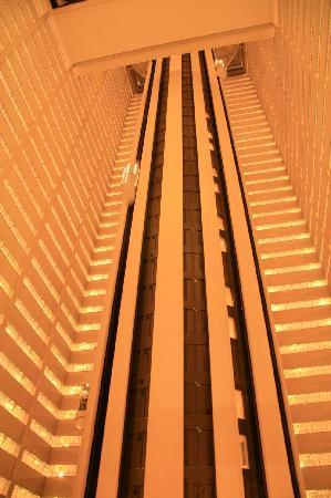 New York Marriott Marquis: The elevators at work - the view was exhilerating!