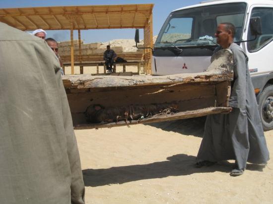 Saqqara, Egypt: Sådan kan man også behandle oldtidsfund.. Bemærk mumien indeni. Det hele blev smidt op på en lad