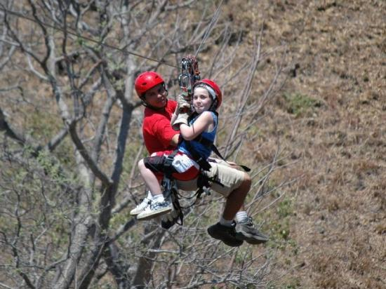 Gulf of Papagayo, Costa Rica: Spencer on the zip line