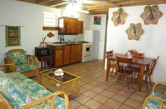 Seven Seas Resort: Living, Kitchen area