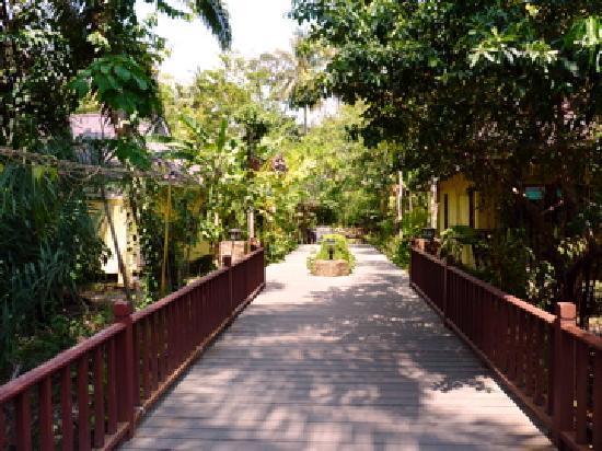 Sunda Resort: le pont entre la partie entrée-restaurant et le chemin des bungalows