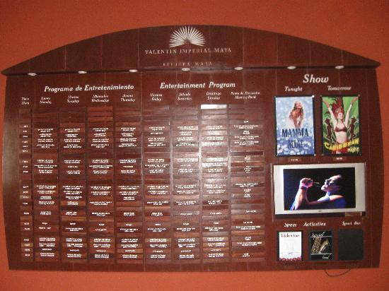 Activities Board Picture Of Valentin Imperial Riviera