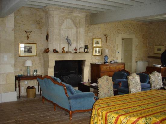 Chambres d'hotes Saint Emilion Bordeaux: Beau Sejour: Chimenea