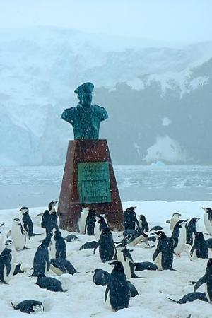 A Shackleton memorial on elephant island in the Antarctic
