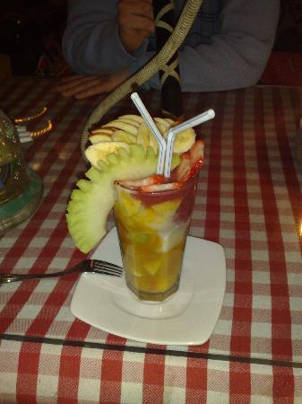 The Bedouin Moon Hotel: a lovely fruit drink from a seafront restaurant