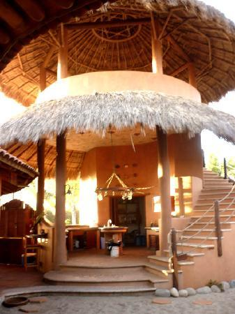 Playa Viva: kitchen area with yoga studio above