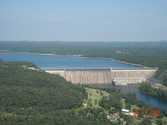 Bull Shoals dam.  Bull Shoals Lake is 90 miles long.  The White River below the dam has world cl