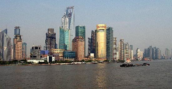 Şanghay, Çin: Pudong from the Bund