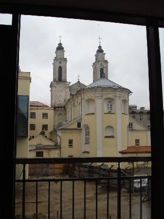 Daugirdas Hotel: View of the back of the baroque Cathedral from our room