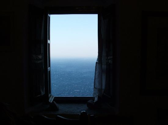 Amorgos, Greece: the great blue of the sea from the window of the Monastery