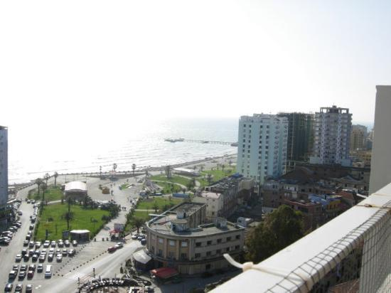 March 27, 2010  On the terrace Fly Bar and Wine over looking the port side of Durres and the Adr