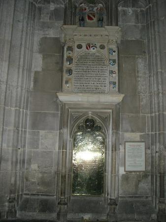 Winchester, UK: The Grave of Jane Austen mounted on the wall of the Cathedral
