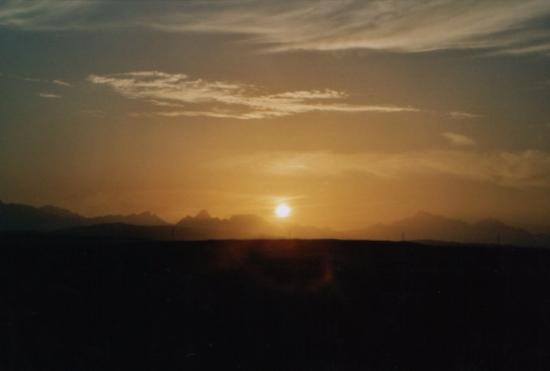 Eastern (Arabian) Desert : And the sunset over the hills, seen from theHotel Tower at our last day  26th Nov 03