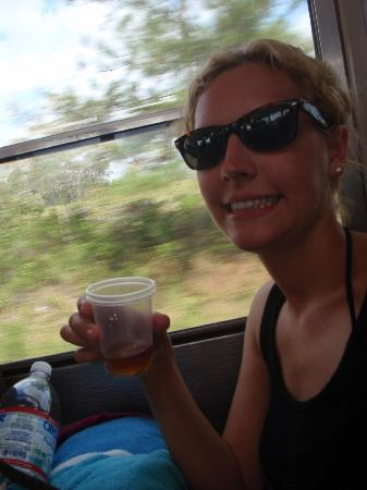 Cavetubing with Major Tom: me w/ cashew wine, if I look nevous, its because I was!