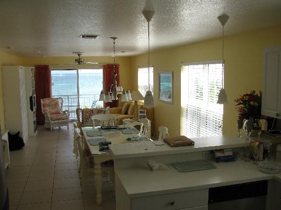 Compass Point Dive Resort: main living area of the 2BR/2BA condos