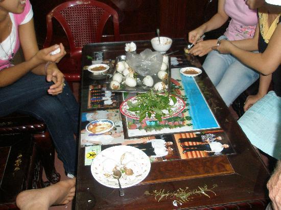 Madam Cuc 64 : Trying fertilized duck eggs - Balut