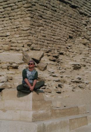 Saqqara, Egypt: relaxing at the bottom of the Sakkara pyramid