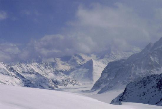 "Hotel Gletschergarten: View from ""Top of Europe"" -- valley glacier"