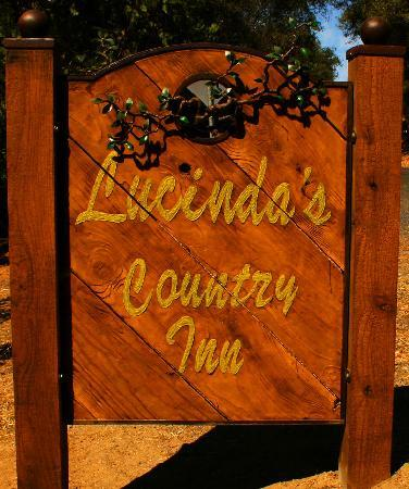 Lucinda's Country Inn: Our sign is at the edge of the road by the big cedar tree.