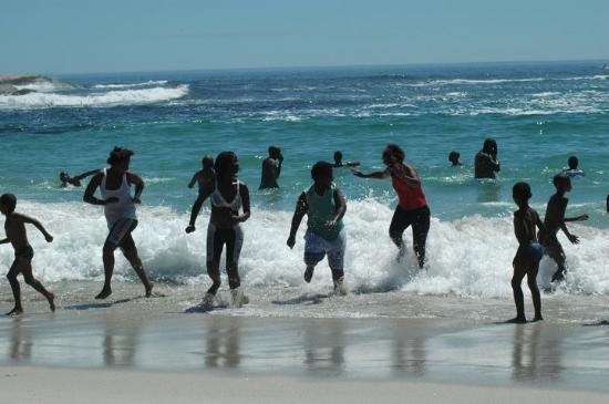 Camps Bay, South Africa: air temp=90+F...water temp...brrrrrr55-F or less...Atlantic side Indian Ocean much warmer