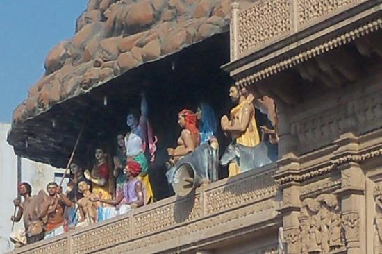 Lord Krishna lifting the Goverdhan mountain in Dhangati temple