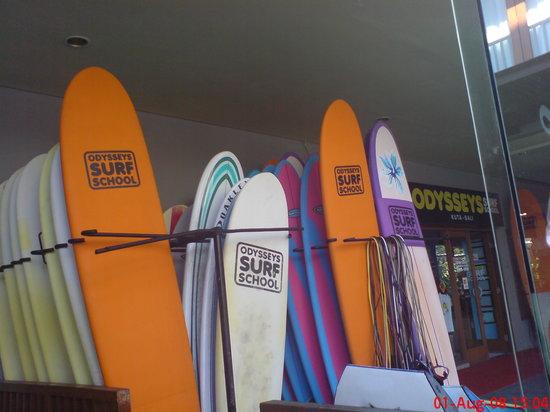 Odysseys Surf School: Surf boards outside the surf school
